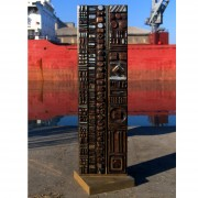 Stele, n.6, side B - Bronze, lost wax casting - h 53x14 in - 2002