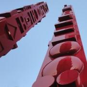 """""""Totem"""" - Acciaio dipinto in smalto lucido rosso segnali - h 1000, 800, 500 cm- Fondazione OIC, Padova 2015"""