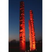 Totem, Fondazione OIC Padova- Acciaio dipinto in smalto lucido rosso segnali- h 1000, 800, 500 cm- 2015