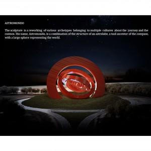 """Astromondo- Acciaio smaltato rosso- h 17, d. 34 m- """"Venice to the world"""