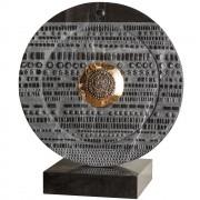 """""""Sole"""" - Marmo nero Marquinia con inserimento in bronzo - ø 60 cm - 2017"""