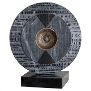 """""""Sun"""" - Black Marquinia marble with bronze insert - ø 24 in - 2017"""