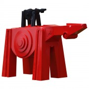 Cavallo Rosso con Puledro Nero - Acciaio - 199x65x120 cm - 2017