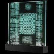 Scultura Trasparente n.15 - Incisione a mola su lastra di cristallo industriale - 38x37 cm - 2017