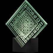 """""""Scultura Trasparente"""" -Incisione a mola su lastra di cristallo industriale - 25x25 cm - 2018"""