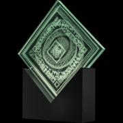 """""""Scultura Trasparente"""" -Incisione a mola su lastra di cristallo industriale - 40x40 cm - 2018"""