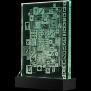 """""""Scultura Trasparente"""" -Incisione a mola su lastra di cristallo industriale - 30x40 cm - 2018"""