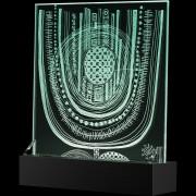 """""""Scultura Trasparente"""" -Incisione a mola su lastra di cristallo industriale - 29,5x29,5 cm - 2017"""