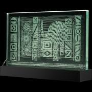 """""""Scultura Trasparente"""" -Incisione a mola su lastra di cristallo industriale - 50x30 cm - 2018"""
