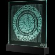 """""""Scultura Trasparente"""" -Incisione a mola su lastra di cristallo industriale - 37,5x37,5 cm - 2017"""