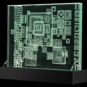 """""""Scultura Trasparente"""" -Incisione a mola su lastra di cristallo industriale - 40x30 cm - 2018"""