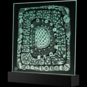 """""""Scultura Trasparente"""" -Incisione a mola su lastra di cristallo industriale - 40x40 cm - 2017"""