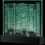 """""""Scultura Trasparente"""" -Incisione a mola su lastra di cristallo industriale - 35x30 cm - 2017"""