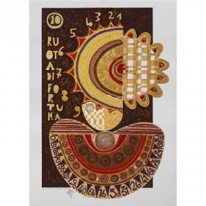 Ruota della Fortuna - Serigrafia 10/22 'I Tarocchi'- Tiratura 8/99 Stampa fino a 40 colori con inserimento di metalli su carta Fabriano - 50x70 cm, Venezia 1991