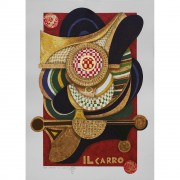 Il Carro (The Chariot) - Serigraph 7/22 of Tarots - Run 8/99, printed up to 40 colours with metal insertion on Fabriano paper - 19,7x27,6 in - Venice, 1990