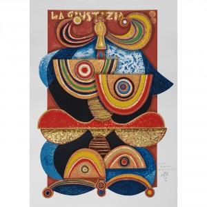 La Giustizia - Serigrafia 8/22 'I Tarocchi' - Tiratura 8/99 Stampa fino a 40 colori con inserimento di metalli su carta Fabriano - 50x70 cm, Venezia 1990