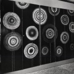 Firmamento (Firmament) - wood painted with waxes and tempera on a black background, 197x118 in, Personal exhibition at the Fondazione Bevilacqua La Masa, Venice 1958