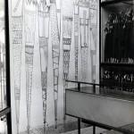 Ombrelli, Graffito su fondo bianco, 300x200 cm, Negozio Bussola, Venezia, 1957