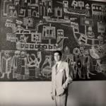 Storia di S. Marco - Graffito su encausto con fondo rosso mattone, 420x230 cm, Adriatica Navigazione Venezia, sala passeggeri, 1957